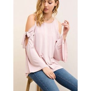 Tops - Bow Down Hippie Boho Pink Cold Shoulder Top